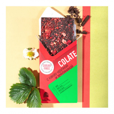 NEOcolate. Шоколад без сахара с какао- крупкой и земляникой, 25 г