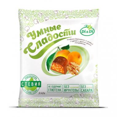 """Конфеты без сахара """"Умные сладости"""" курага с грецким орехом в шоколадной глазури, 210 г"""