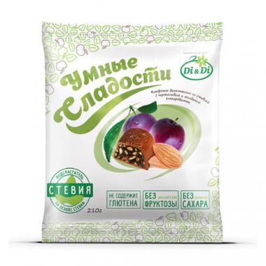 """Конфеты без сахара """"Умные сладости"""" чернослив с миндалем в шоколадной глазури, 210 г"""