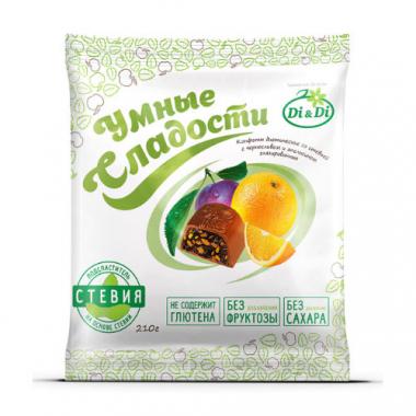 """Конфеты без сахара """"Умные сладости"""" чернослив с апельсином в шоколадной глазури, 210 г"""