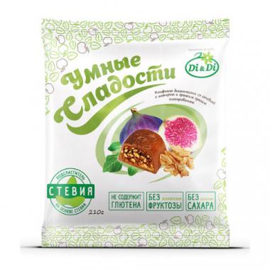 """Конфеты """"Умные сладости"""" с инжиром и грецким орехом, глазированные, 210 г"""