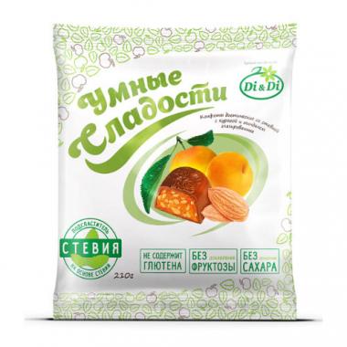 """Конфеты """"Умные сладости"""" с курагой и миндалем, глазированные, 210 г"""
