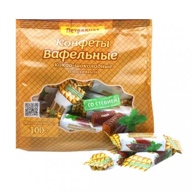 Конфеты вафельные «Петродиет» на фруктозе какао-шоколадные со стевией, 100 г