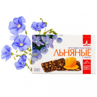 Льняные хрустящие пластинки «Биокор» с медом, 30 пластинок