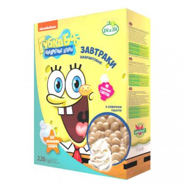 Завтраки амарантовые Губка Боб в сливочной глазури, 220 г