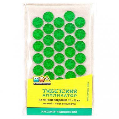 """Массажер медицинский """"Тибетский аппликатор"""" на мягкой подложке, 12х22 см, зеленый"""
