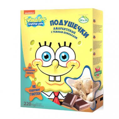 Подушечки без глютена Губка Боб с шоколадной начинкой, 220 г