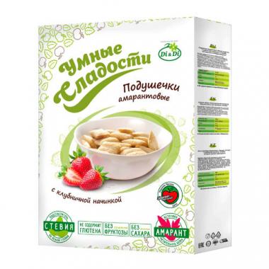 Подушечки без глютена «Умные сладости» с клубничной начинкой со стевией, 220 г
