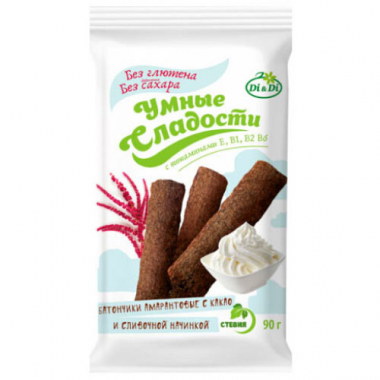 Батончики «Умные сладости» амарантовые с какао и сливочной начинкой, 90 г